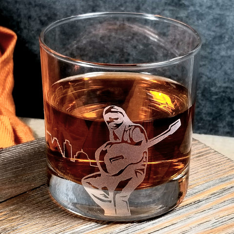 Willie Nelson Austin Blue Music Etched Old Fashioned Glass Glassware- Monster Dance Designs