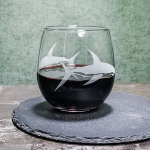 Great White Shark Etched Stemless Wine Glass