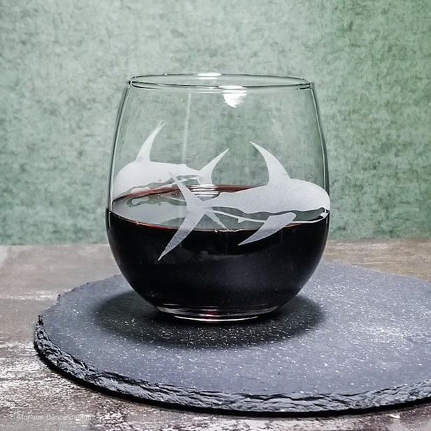 Great White Shark Etched Stemless Wine Glass 1