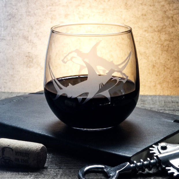 Hammerhead Shark Etched Stemless Wine Glass 1