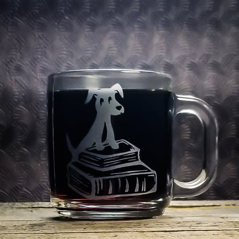Dachshund Wiener Dog Library Book Etched Glass Coffee Mug Mugs- Monster Dance Designs