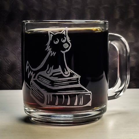 Terrier Dog Library Book Etched Glass Coffee Mug Mugs- Monster Dance Designs