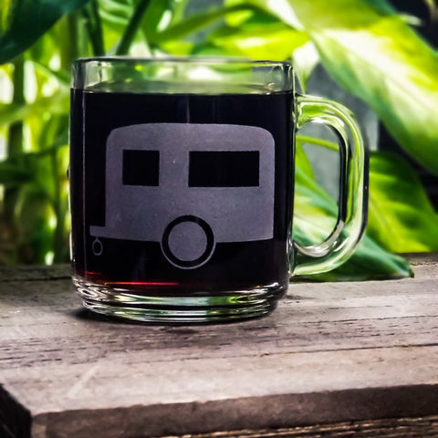Camper Airstream Etched Glass Coffee Mug Mugs- Monster Dance Designs