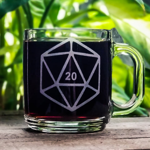 D20 Dnd Dice Etched Glass Coffee Mug Mugs- Monster Dance Designs