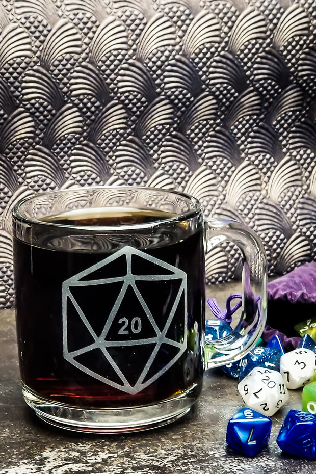 D20 Dnd Dice Etched Glass Coffee Mug 1