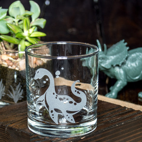 Plesiosaurus Dinosaur Etched Cocktail Old Fashioned Glass Glassware- Monster Dance Designs
