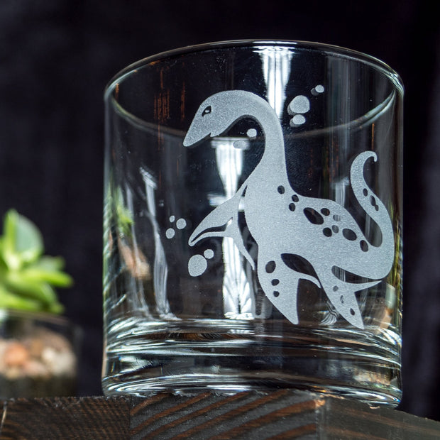 Plesiosaur Dinosaur Etched Whiskey Glass 1