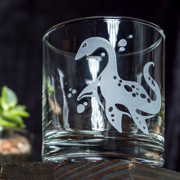 Plesiosaurus Dinosaur Etched Cocktail Old Fashioned Glass