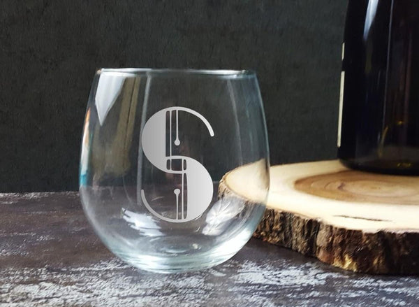 Art Deco Monogram Vintage Initials Letters | Custom Whiskey Glass | Personalized Gift | Glassware- Monster Dance Designs