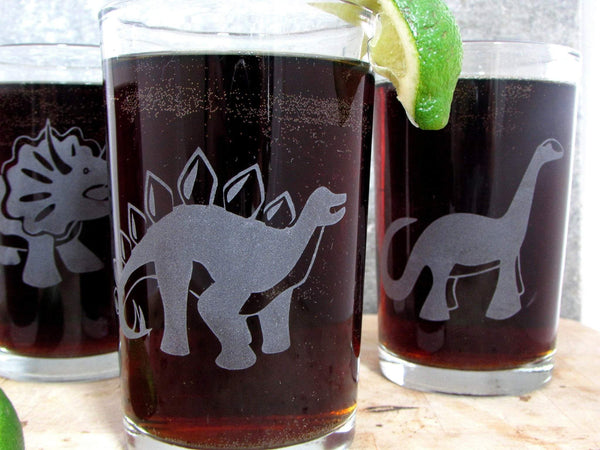 Stegosaurus Etched Glassware - Monster Dance Designs  - 4