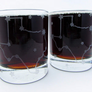 Texas Stars Constellation Etched Whiskey Glass