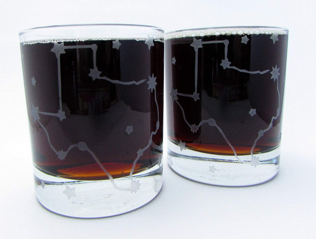 Texas Stars Constellation Etched Whiskey Glass 1