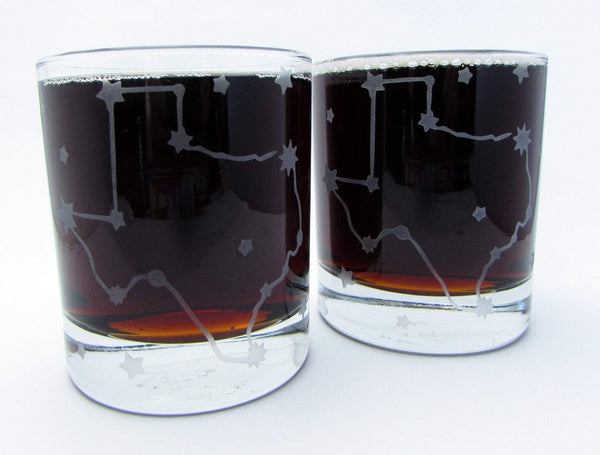 Stars Over Texas Constellation Etched Glassware Glassware- Monster Dance Designs