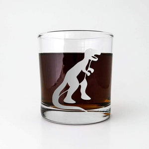 T-Rex Dinosaur Etched Whiskey Glass