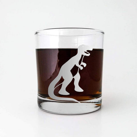 T-Rex Dinosaur Etched Glassware Glassware- Monster Dance Designs