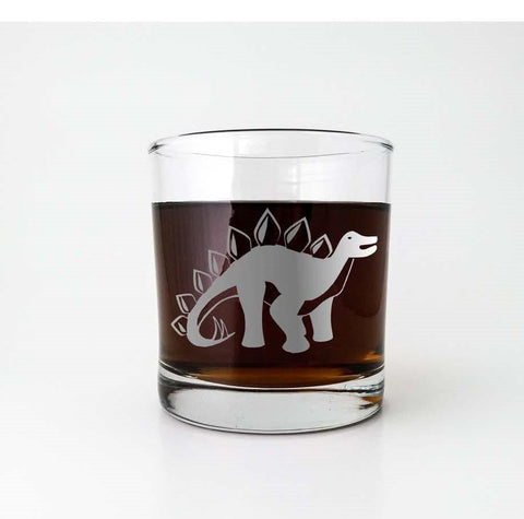 Stegosaurus Dinosaur Etched Glassware Glassware- Monster Dance Designs