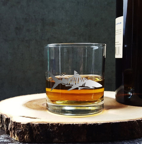 Tiger Shark | Etched Glassware | Whiskey Glass | Old Fashioned