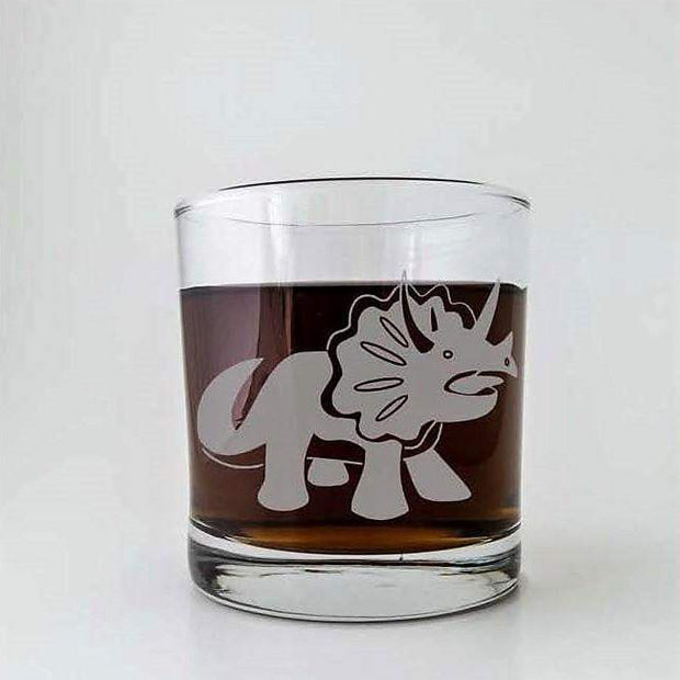 Triceratops Dinosaur Etched Whiskey Glass 1