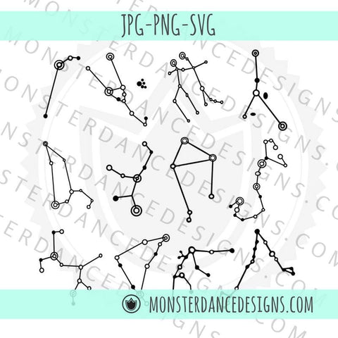 Zodiac Constellation Digital SVG Cut Files for Cricut Silhouette | Glass Etching | Stamps | Planner Stickers | Decals | Clipart