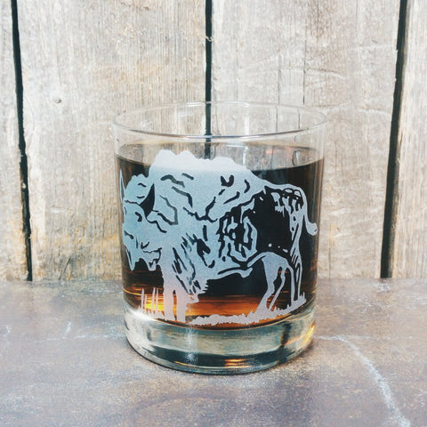 Bison Art | American Buffalo | Etched Whiskey Glass | Old West | Ranch Rustic Decor | Scotch | Rocks Glass | Groomsman Gift Glassware- Monster Dance Designs