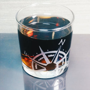 Compass Rose Etched Wine Glass