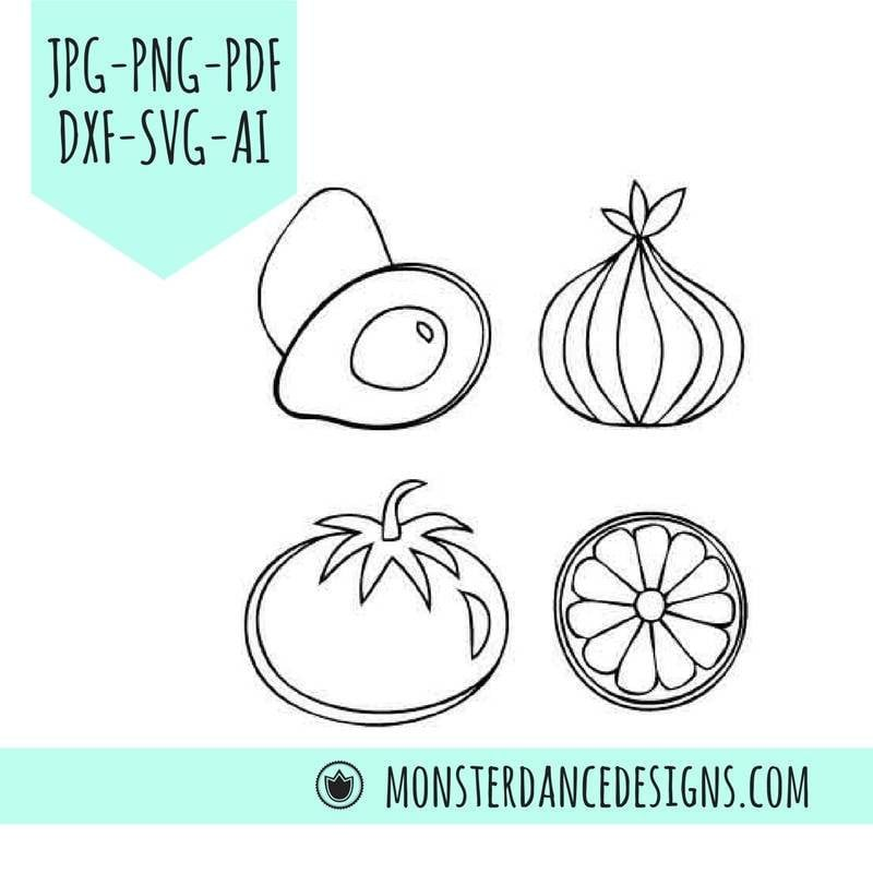 Salsa SVG DXF | Avocado, Tomato, Onion, Lime Digital for Silhouette Cricut -Etching- Stamping - Embroidery