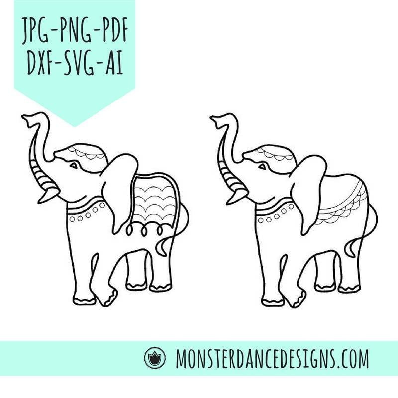 Boho Indian Elephant Digital Pattern Stencil for - Etching- Stamping - Embroidery