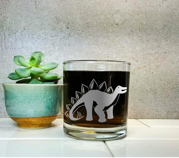 Stegosaurus Dinosaur | Personalized Etched Glass | Whiskey Glass | Dinosaur Gift | Dinosaur Decor | Science Gift | Jurassic Park |