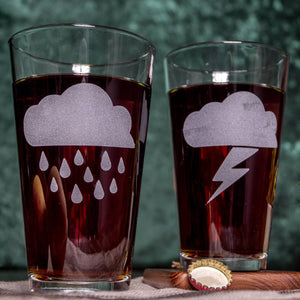Storm Clouds Etched Pint Glasses