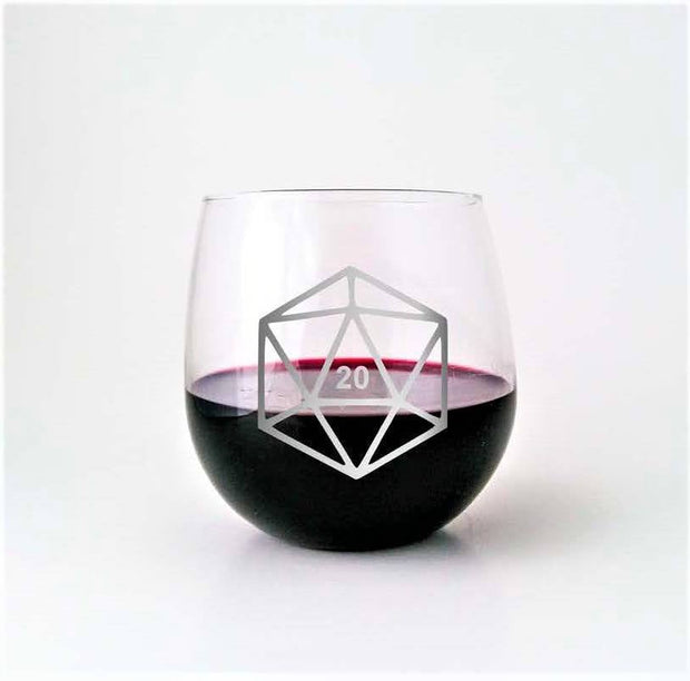 D20 DnD Polyhedral Dice Etched Stemless Wine Glass 1
