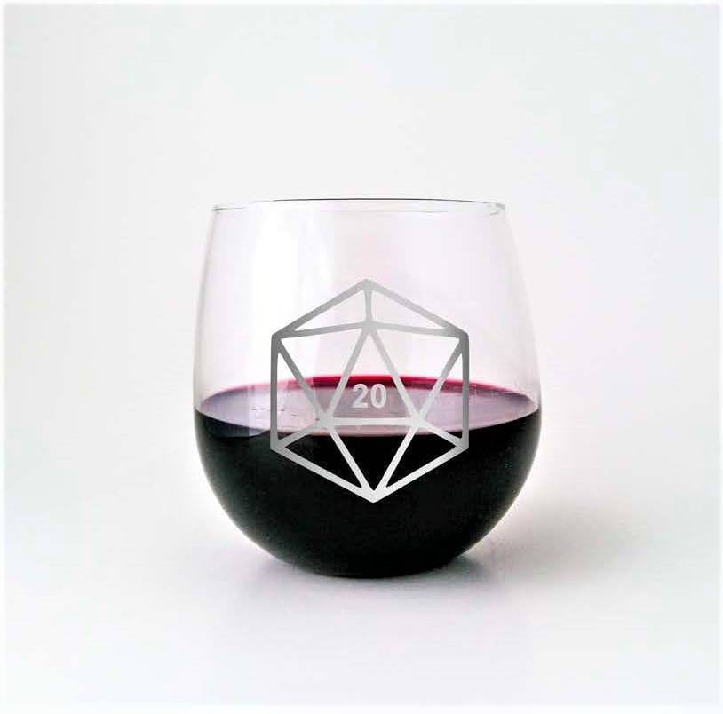 D20 DnD Polyhedral Dice | Etched Stemless Wine Glass | DM Gift | DnD Gift | Dungeon Master | Dungeons and Dragons | RPG