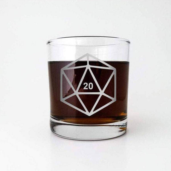 D20 DnD Polyhedral Dice | Etched Old Fashioned Whiskey Glass | DM Gift | Dungeon Master | Personalized Glass | RPG | Dungeons and Dragons