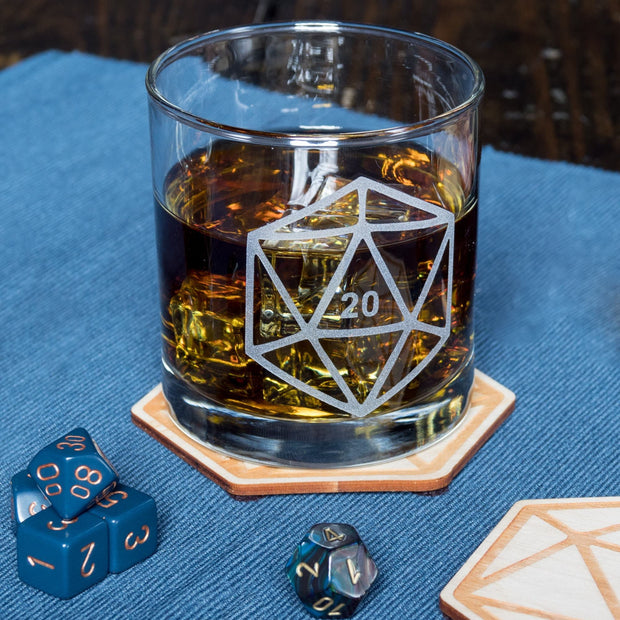 D20 DnD Polyhedral Dice Etched Whiskey Glass 1