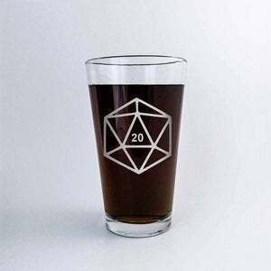 D20 DnD Polyhedral Dice Etched Pint Glass
