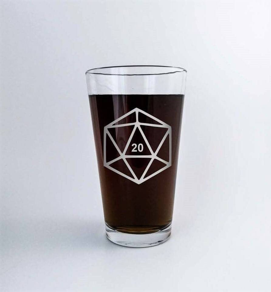 D20 | DnD | Polyhedral Dice | Etched Pint Glass | DM Gift | Dungeon Master | Custom Beer Glass | RPG | Dungeons and Dragons