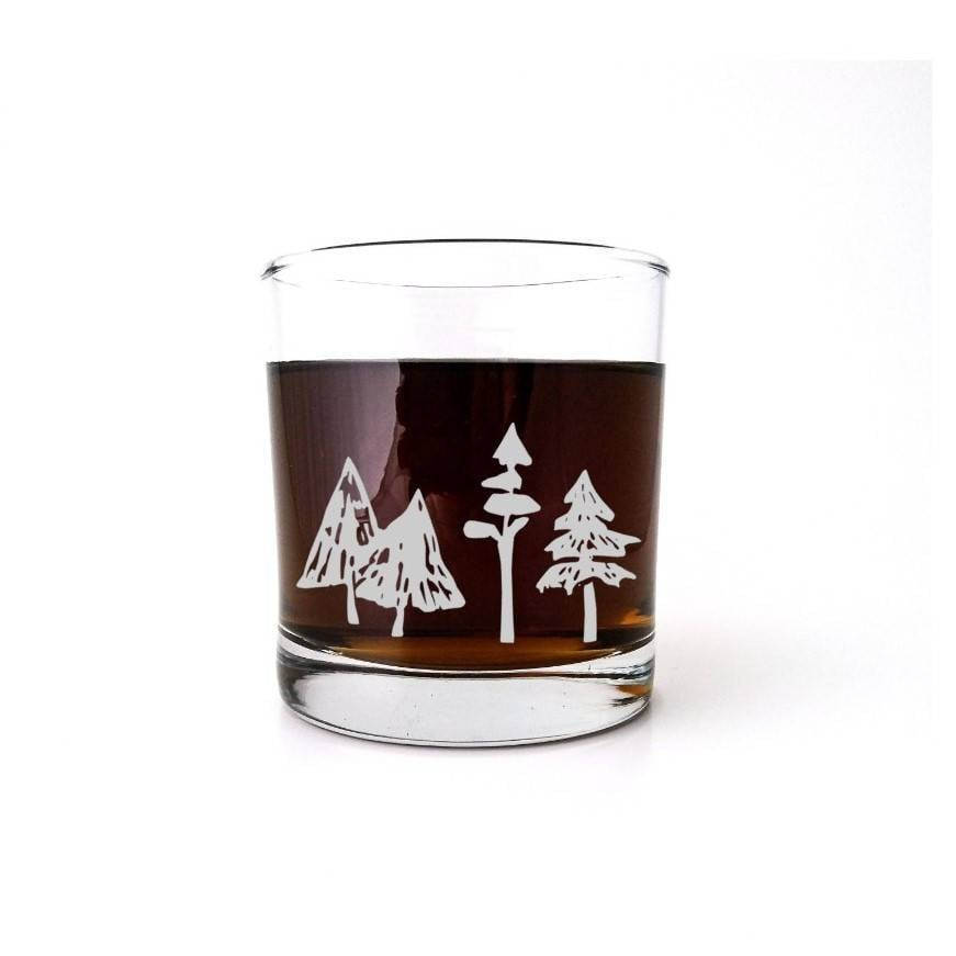 Woodland Forest | Etched Whiskey Glass | Pine | Ski Gift | Mountain Wedding | Winter Wonderland | Rustic Cabin Decor | Christmas Tree