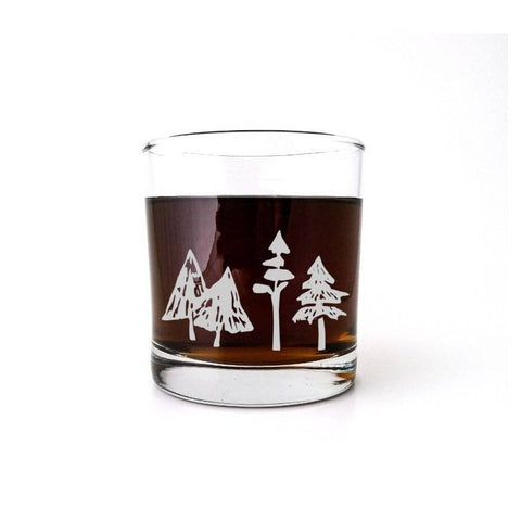 Woodland Forest | Etched Whiskey Glass | Pine | Ski Gift | Mountain Wedding | Winter Wonderland | Rustic Cabin Decor | Christmas Tree Glassware- Monster Dance Designs