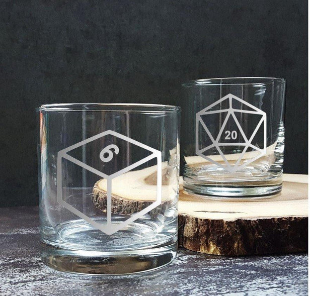 DnD Dice Set of Six Etched Scotch Glasses 1