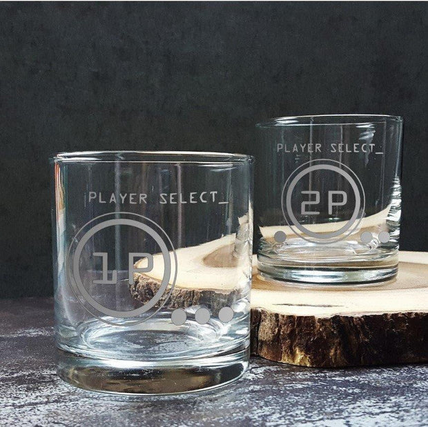 Retro Style Player Etched Glasses, Set of 2 1