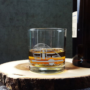 Camper Teardrop Trailer Etched Whiskey Glass