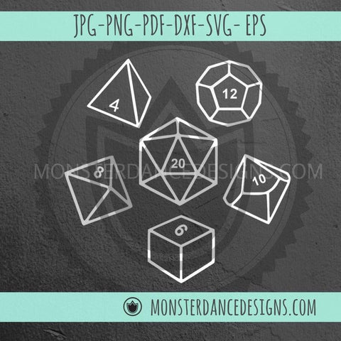 Polyhedral Dice D20 DnD Dice Bundle | Digital Cut File SVG DXF Stencil Decal Clip Art Cricut Silhouette | Dungeons and Dragons Digital Download- Monster Dance Designs