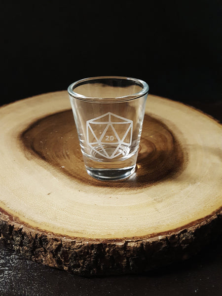 D20 DnD Polyhedral Dice | Etched Shot Glass | DM Gift | Dungeon Master | RPG | Dungeons and Dragons | Dice