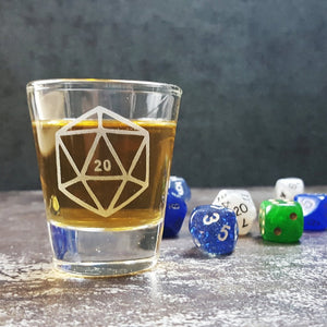 D20 DnD Polyhedral Dice Etched Shot Glass