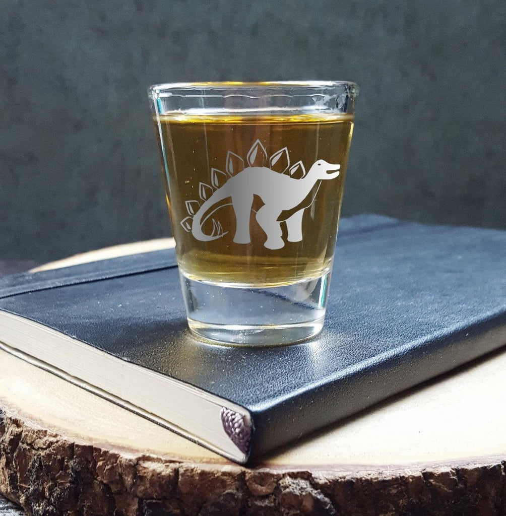 Stegosaurus Dinosaur | Etched Shot Glass | Whiskey Shot | Science Gift | Dinosaur Birthday