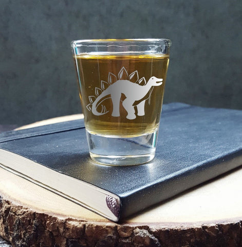 Stegosaurus Dinosaur | Etched Shot Glass | Whiskey Shot | Science Gift | Dinosaur Birthday - Monster Dance Designs
