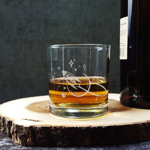 Rocket Spaceship Etched Whiskey Glass
