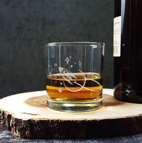 Rocket Spaceship | Etched Whiskey Glass Glassware- Monster Dance Designs