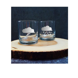 Storm Cloud Etched Whiskey Glasses