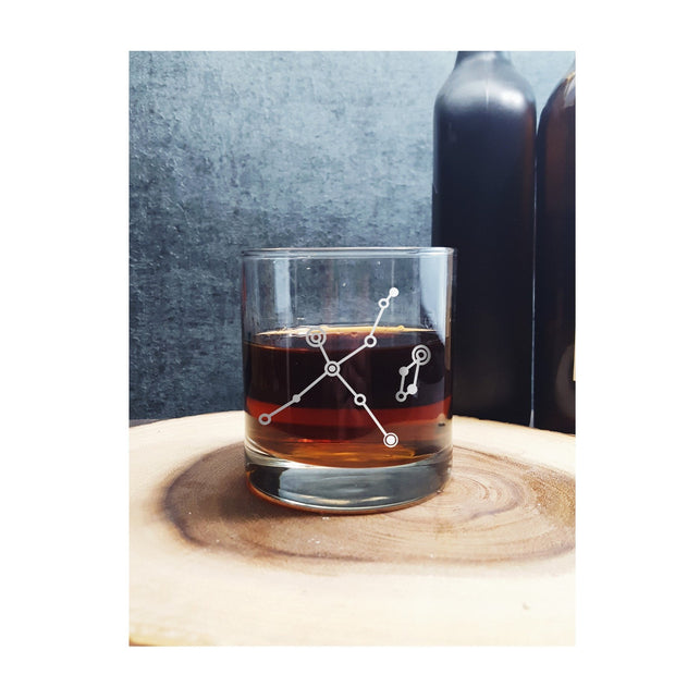 Cygnus and Lyra Etched Whiskey Glass 1