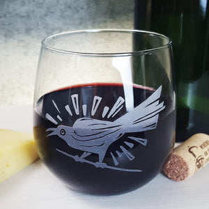 Grackle Bird Austin Stemless Wine Glass